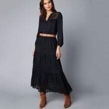 Krajková dlouhá sukně s pružným pasem