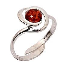 Nastaviteľný strieborný prsteň s jantárovým kamienkom