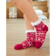 Papučové ponožky s potlačou a protišmykovou úpravou