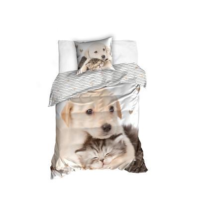 Bavlněné povlečení Retrívr a koťátko