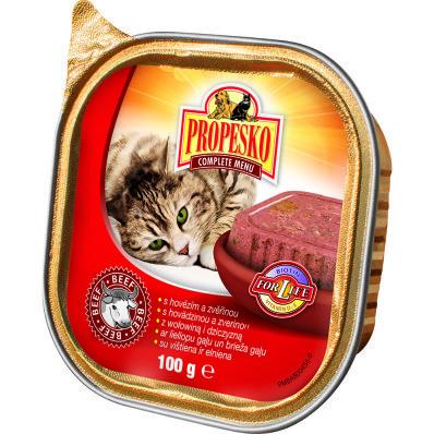 Propesko pro kočky vanička hovězí 100 g