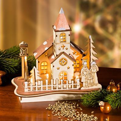 LED dřevěná dekorace Domečky