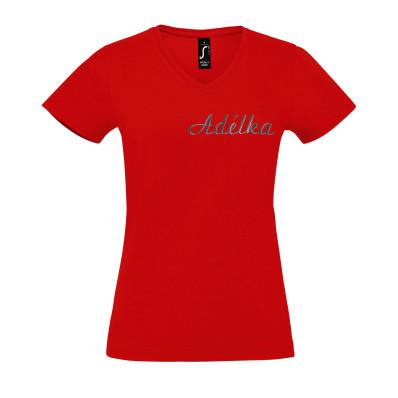 Dámské bavlněné tričko do V personalizované