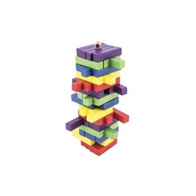 Hra věž dřevěná 60 ks barevných dílků