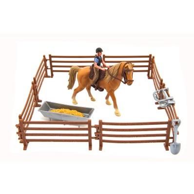 Kůň + žokej s ohradou a doplňky