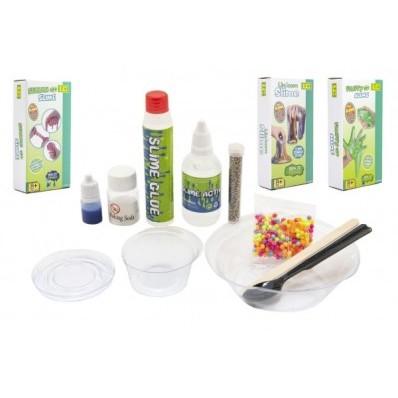 Výroba slizu/hmoty - vědecká hra 3 druhy