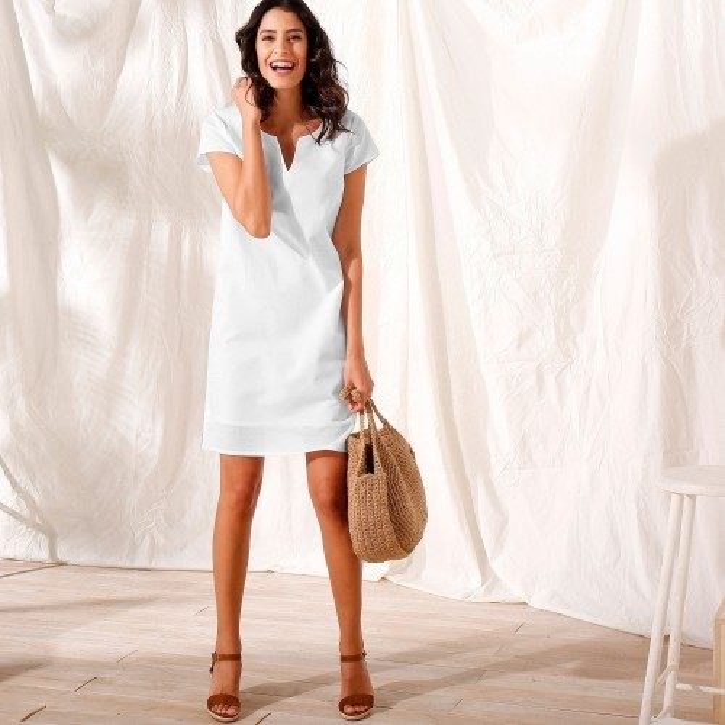 Jednobarevné šaty z bavlny-lnu
