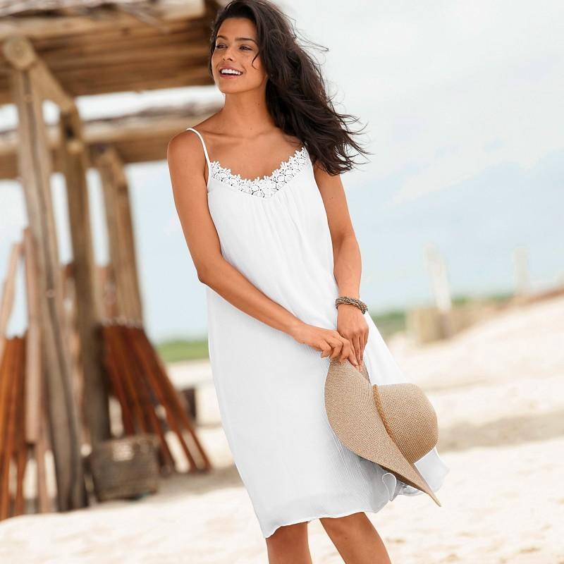 Kreponové šaty s macramé