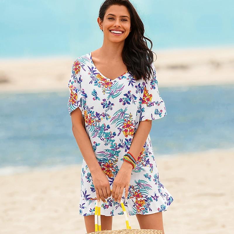 Volánová plážová tunika, květinový vzor