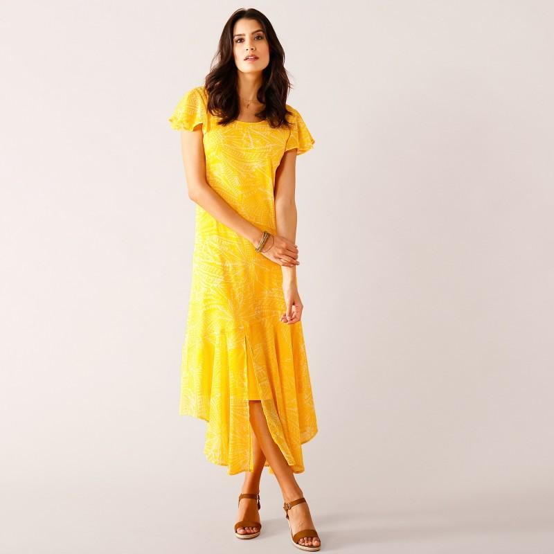 Asymetrické šaty s krátkymi rukávmi