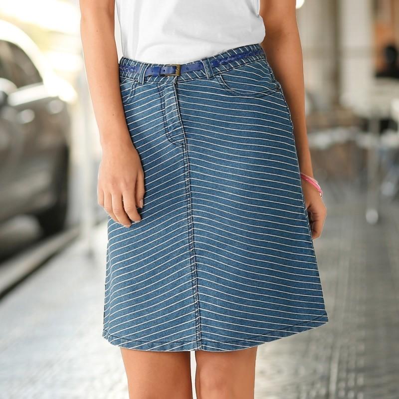 Sukňa pruhovaná džínsová