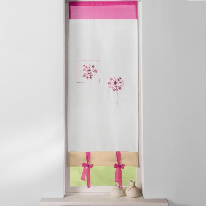 Záclona vitráž ružová