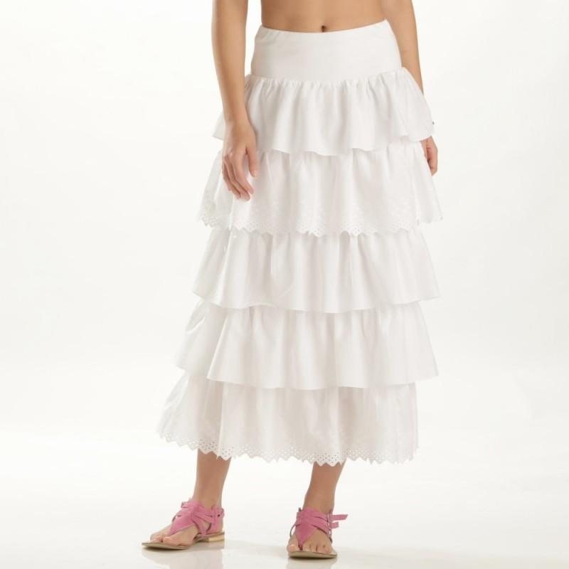 Dlouhá volánová sukně s výšivkou