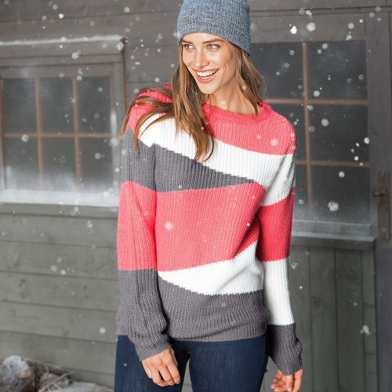 Žakárový pulovr s kulatým výstřihem