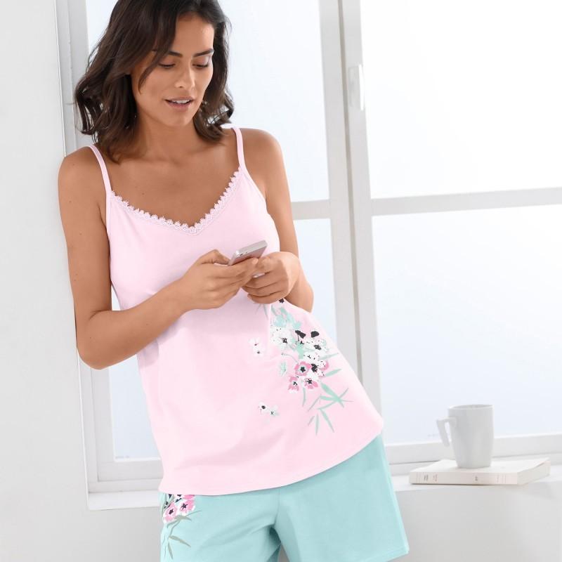 Pyžamový top s polačou kvetín