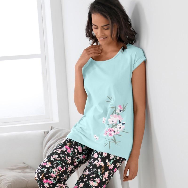 Pyžamové tričko s potiskem květin