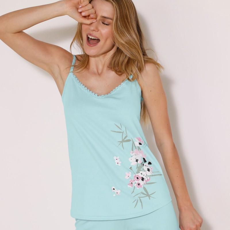 Pyžamový top s potiskem květin