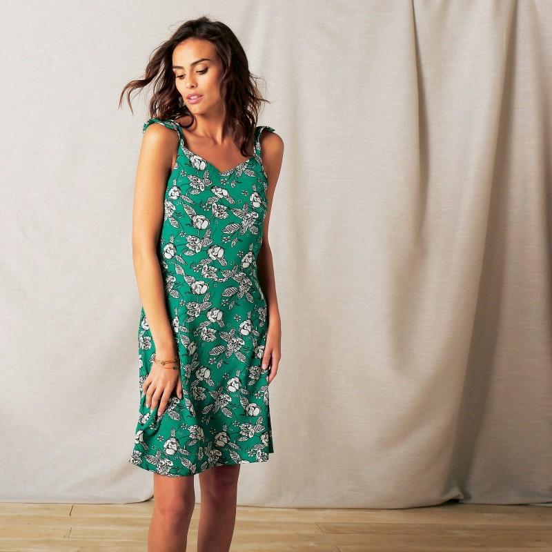Šaty s designem květin a volánky