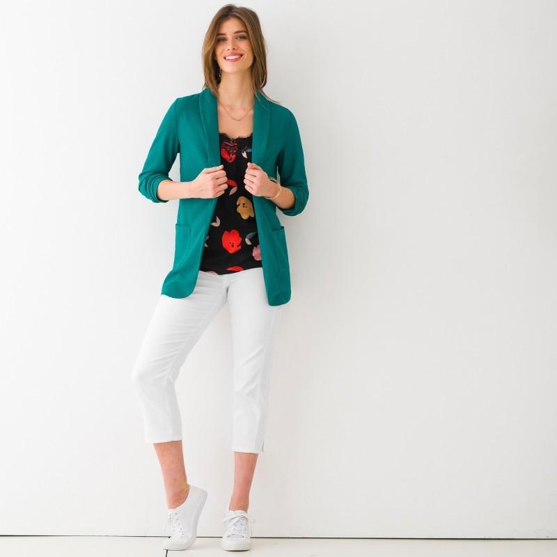 Úpletové jednofarebné sako