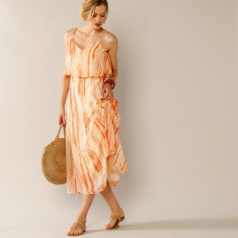Šaty s potiskem a úzkými ramínky