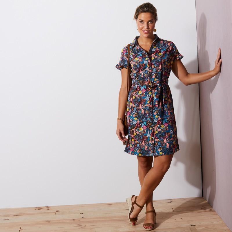 Letní šaty s potiskem a plisováním