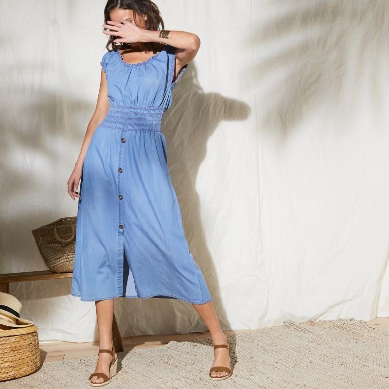 Denimové šaty s žabkovaním