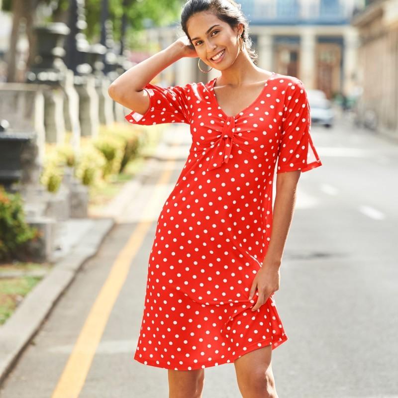 Úpletové šaty s potiskem puntíků
