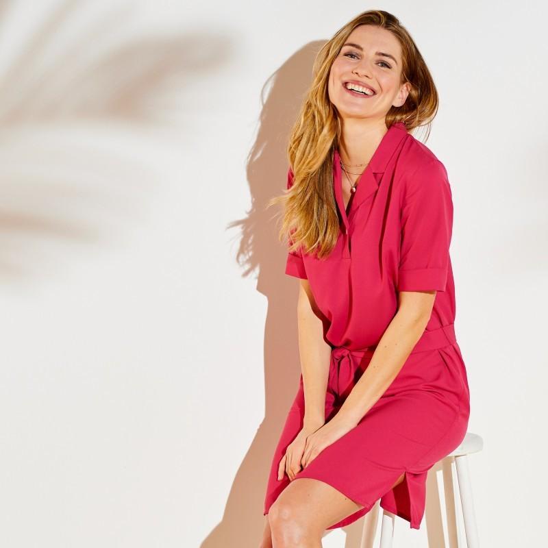 Košilové šaty, jednobarevné, krep
