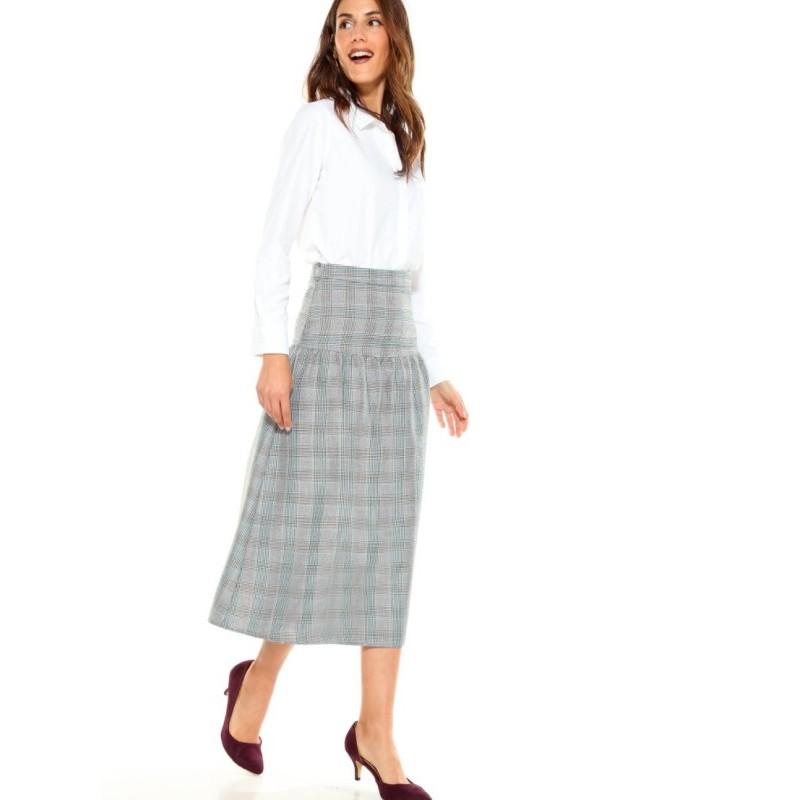 Kostkovaná midi sukně