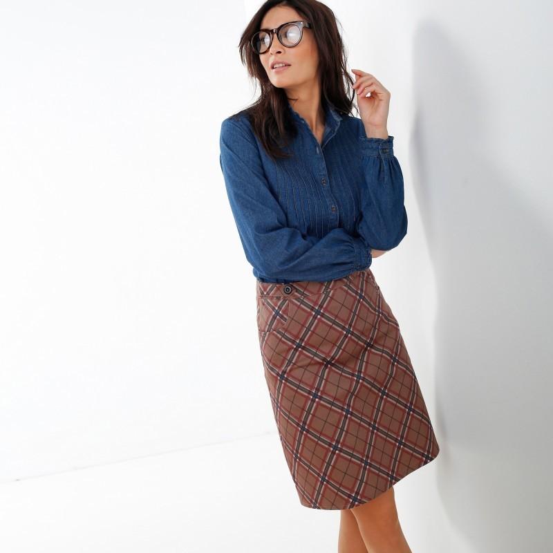 Rozšírená sukňa so vzorom kocky
