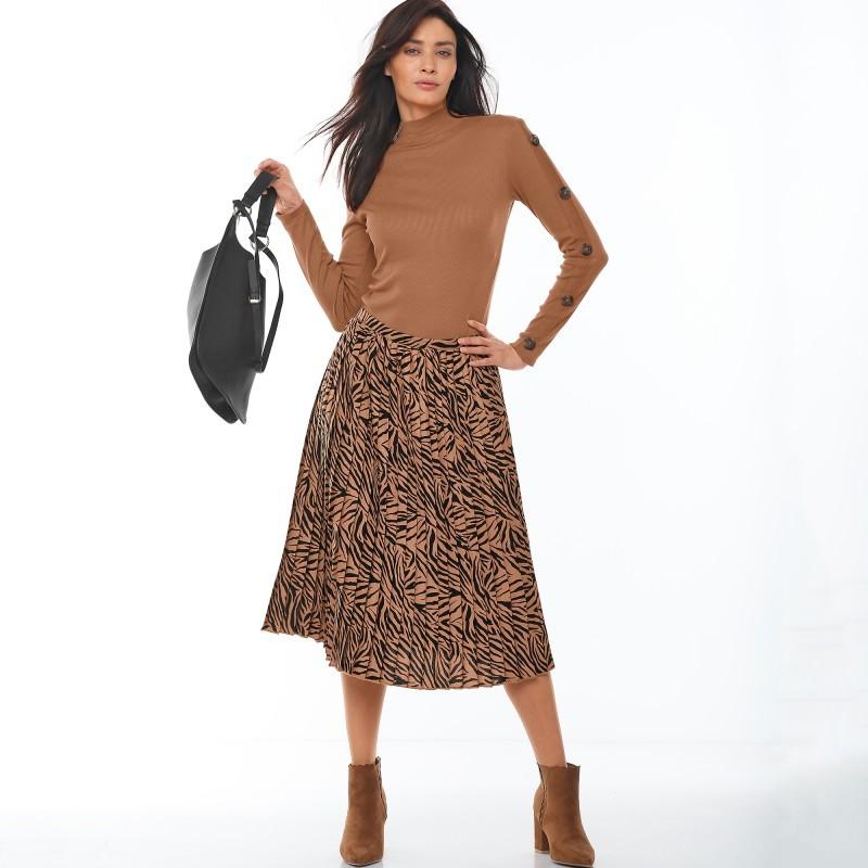 Plisovaná polodlhá sukňa