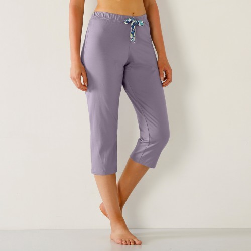 Jednobarevné 3/4 pyžamové kalhoty, mašli