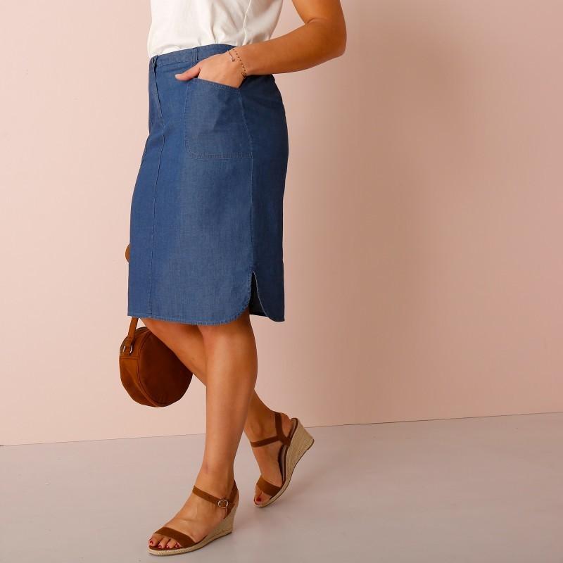 Rovná džínsová sukňa