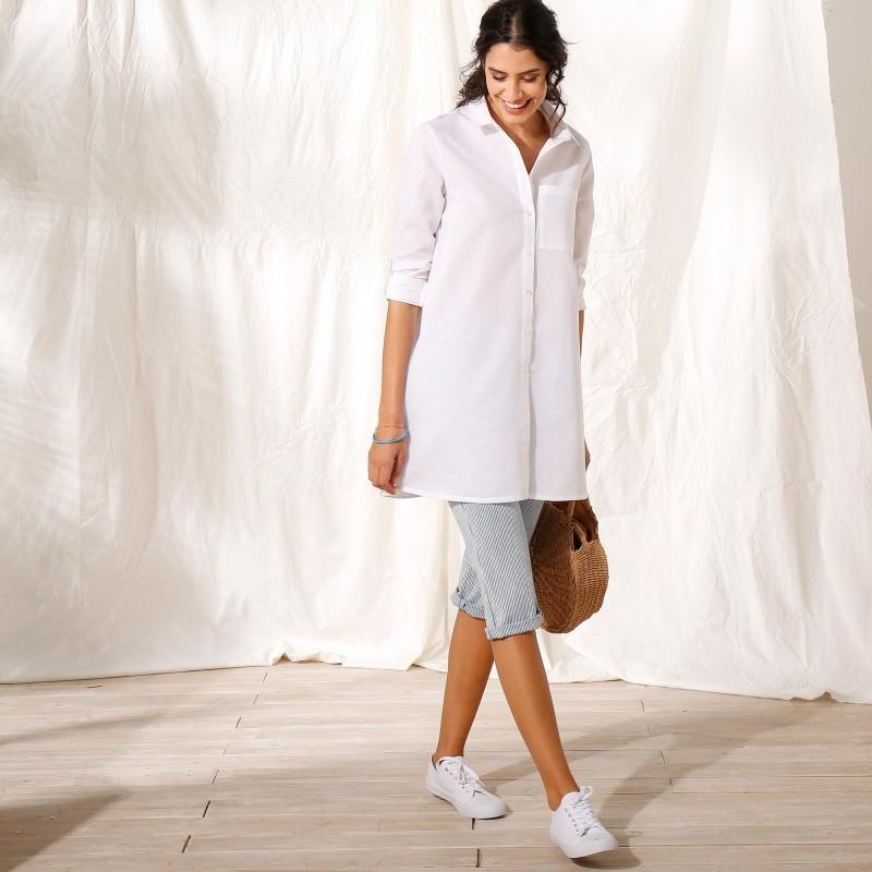 Dlouhá košile z bavlny-lnu