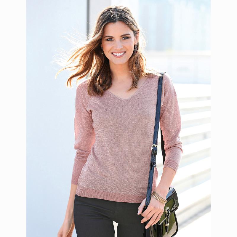 Trblietavý pulóver s dlhými rukávmi