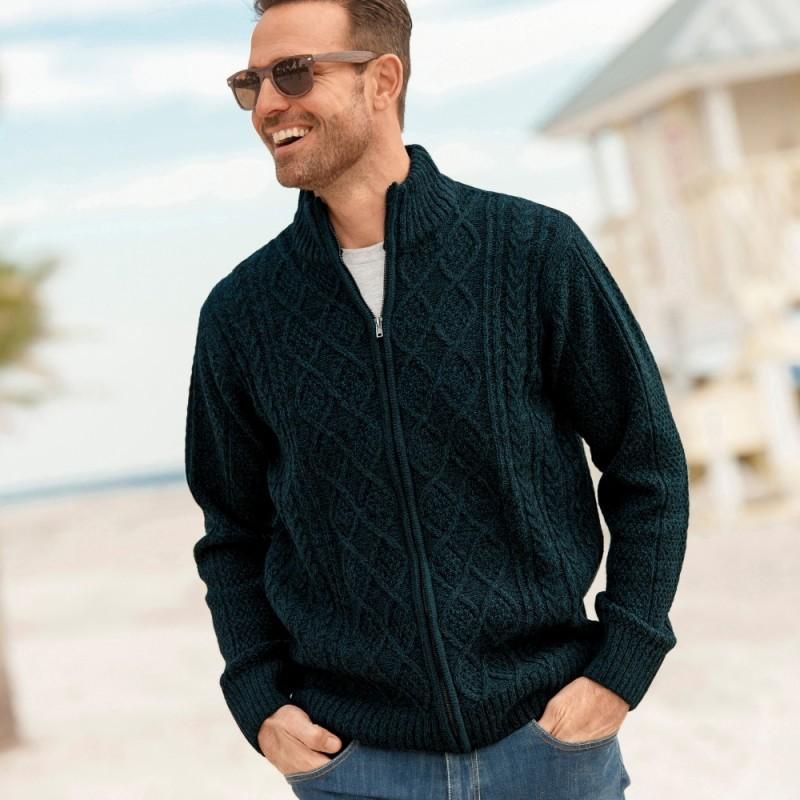 Írsky pulóver na zips