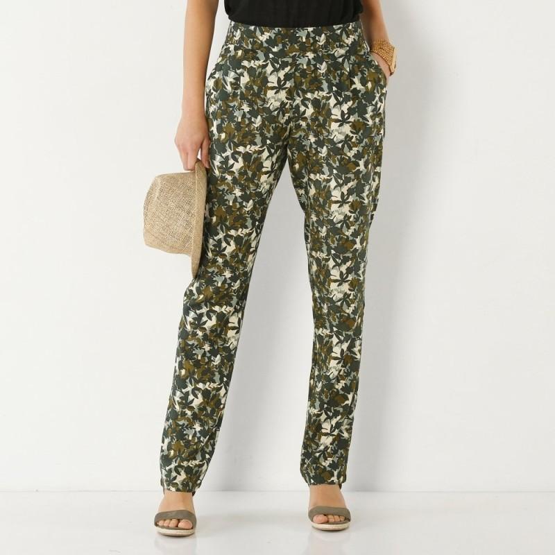 """Rovné kalhoty s potiskem """"džungle"""""""