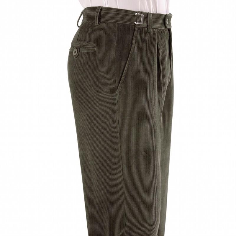 Velurové kalhoty s nastavitelnou přezkou