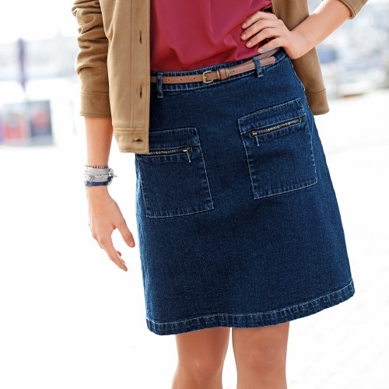Džínsová sukňa sa zipsovými vreckami