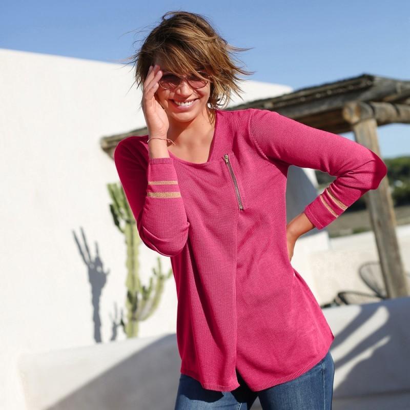 Asymetrický sveter na zips