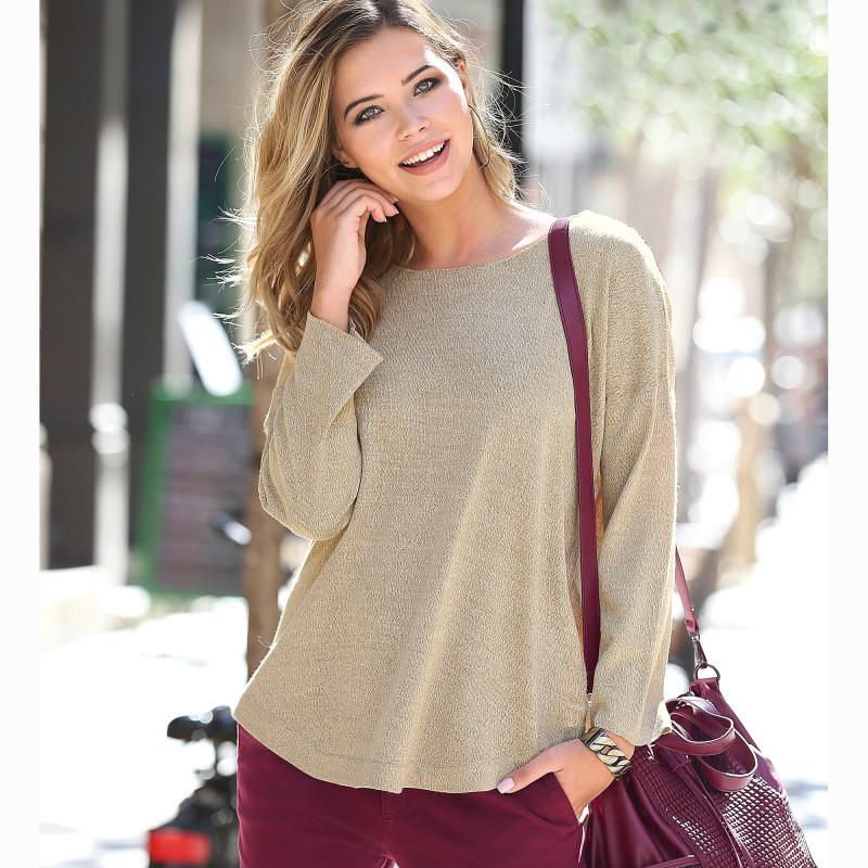 Žíhaný pulovr s dlouhými rukávy