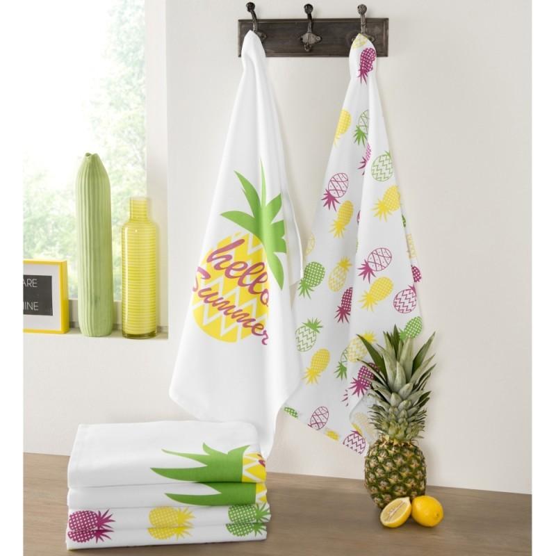 Utierky s potlačou ananás, súprava 4 ks