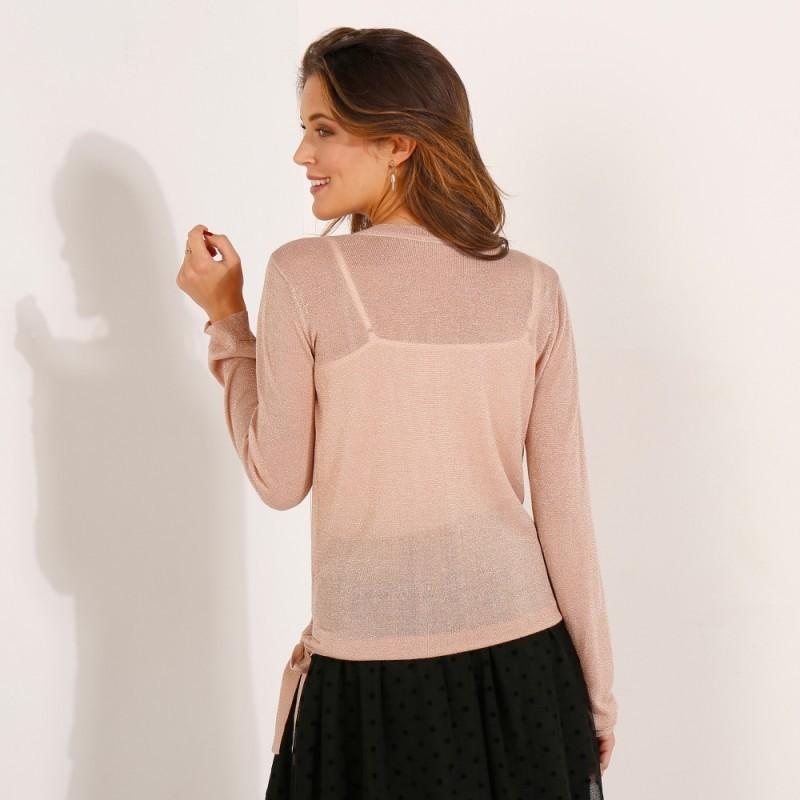 Třpytivý svetr s překřížením