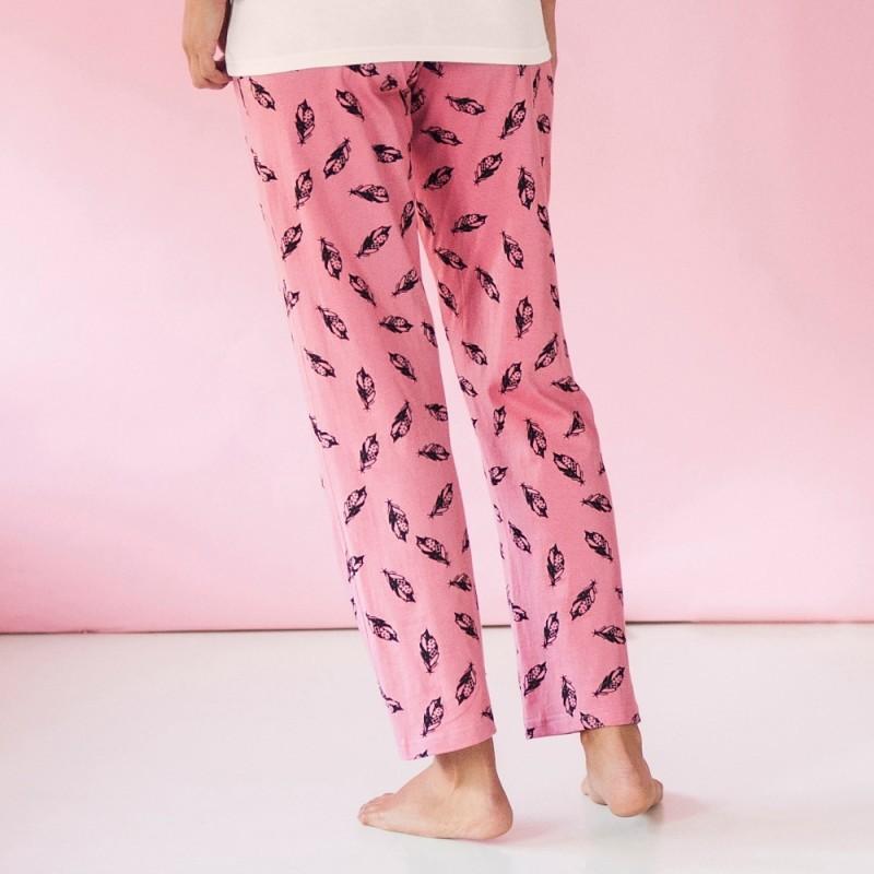 Pyžamové kalhoty s potiskem peříček