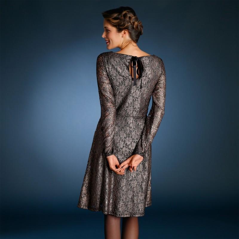 Šaty s čipkou čierna/zlatá