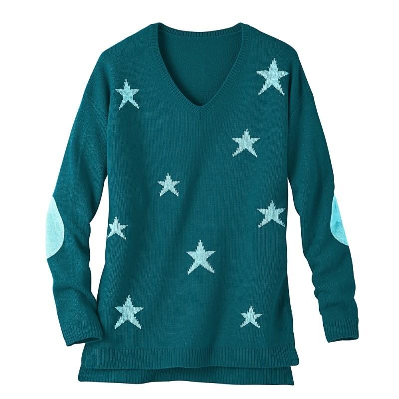 Tunikový pulóver žakár hviezdy