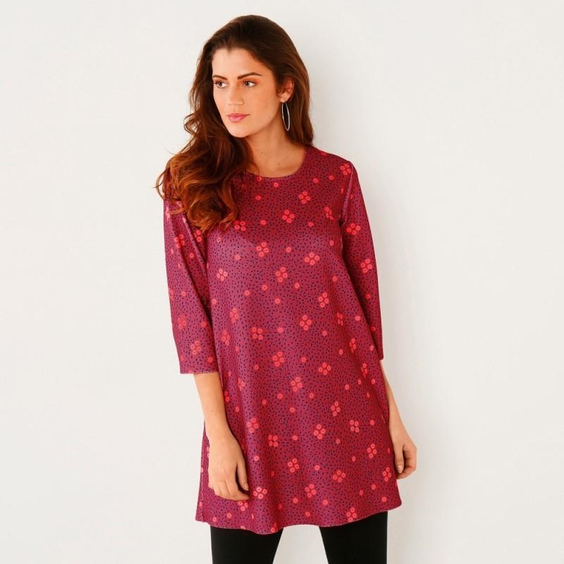 Tunika s minimalistickým vzorem, fialkov