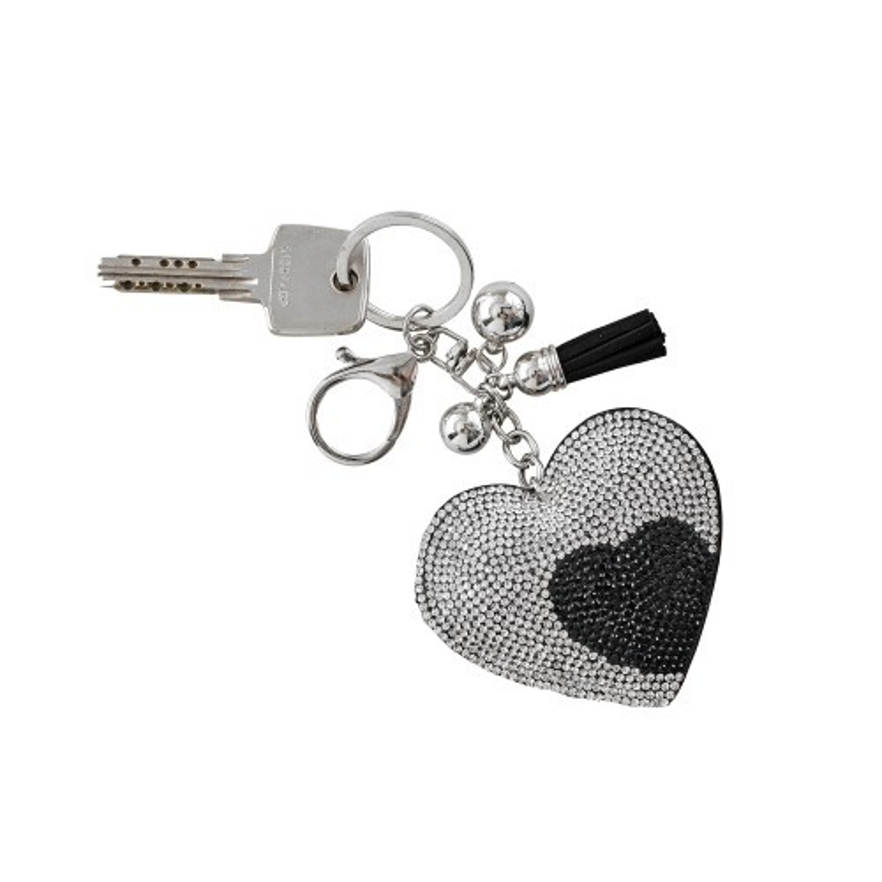 Štrasový přívěsek na klíče ve tvaru srdce