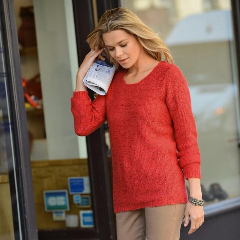 Třpytivý pulovr s kulatým výstřihem