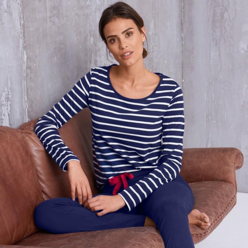 Pruhované pyžamové tričko s dlhými rukáv
